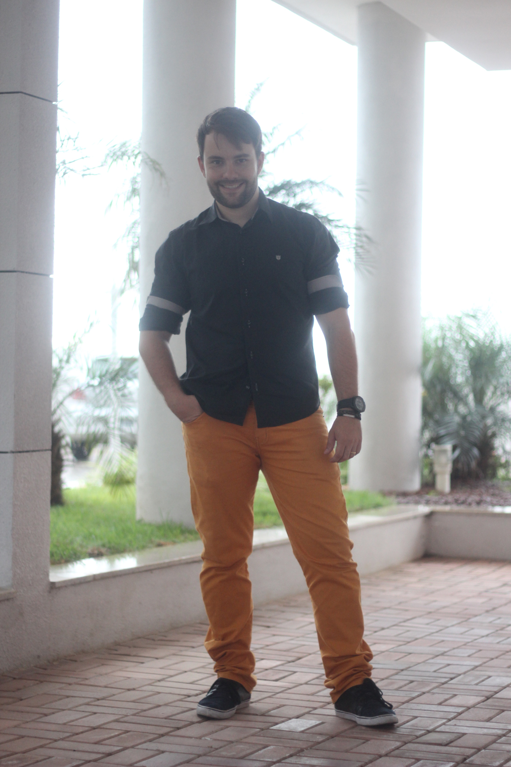 Look do marido calça colorida 1